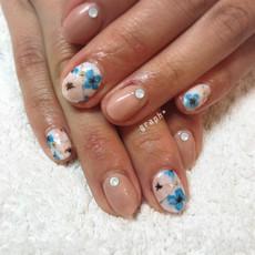 春の水彩花アートジェルネイル