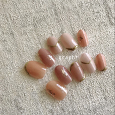 くすみピンクの類似トーン配色ブライダルオーダーチップネイル|graph* nail & design|福井県福井市の隠れ家ネイルサロン