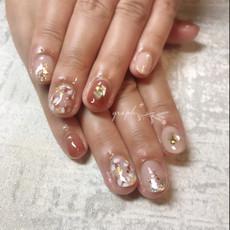 ヌーディピンク × ブラウンレッドのブライダルmixジェルネイル|graph* nail & design|福井県福井市の隠れ家ネイルサロン