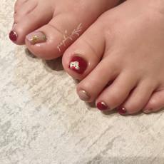 ボルドー × グレイッシュピンクのとろけるスノーマン、冬フットジェルネイル|graph* nail & design|福井県福井市の隠れ家ネイルサロン