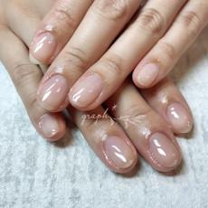 割れやすいお爪の保護に。クリアカラーのつやつやジェルネイル|graph* nail & design|福井県福井市の隠れ家ネイルサロン