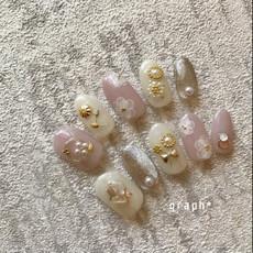 ベビーピンク × オフホワイト × マグネットのボタニカルなご成人式用オーダチップネイル|graph* nail & design|福井県福井市の隠れ家ネイルサロン